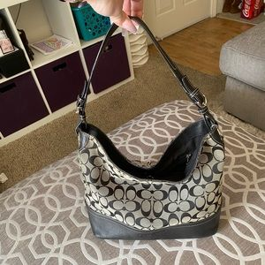 Coach Black Canvas with Leather Bottom Tote